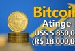Bitcoin Atinge 5.850 Dólares – R$ 18.000,00