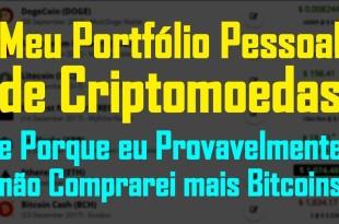 Meu Portfólio Pessoal de Criptomoedas Altcoins e Porque Não Compro Mais Bitcoins